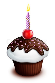 Illustrated Birthday Cupcake with Cherry and Candle