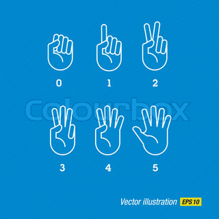 Count vector hand and fingers