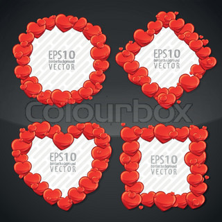 Cute red hearts eps10 vector copyspace photo frame border element in four kind of shapes