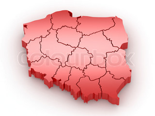 Three-dimensional map of Poland 3d