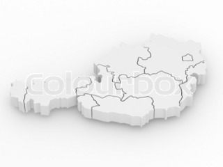 Three-dimensional map of Austria 3d