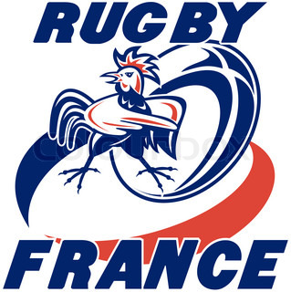 illustration of a rugby ball and french rooster cockerel with words