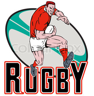illustration of a Cartoon Welsh Rugby player running fending offwith ball in background