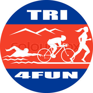 illustration showing the progression of triathlon showing an athlete swimming, biking or cycling and finishing of witha run