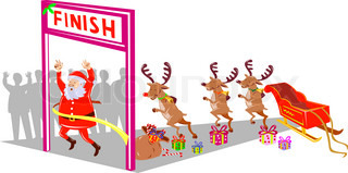 Santa Claus finishing race with reindeers