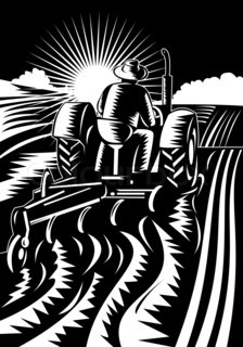 illustration of a farmer driving a vintage tractor plowing the farm field done in retro woodcut style