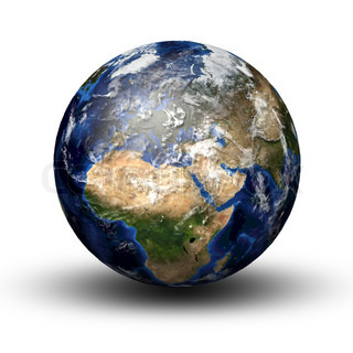 3D image of planet earth with shadow isolated on white View to Europe and Africa
