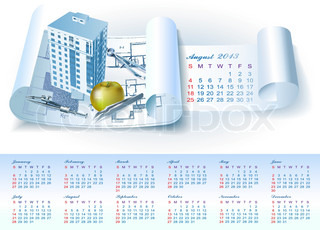 Calendar for 2013 year with colorful architectural design elements. Vector illustration