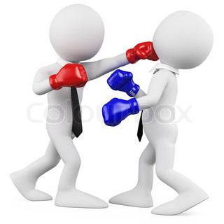 Businessmen in a boxing match