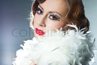 fashionable woman with art visage - burlesque