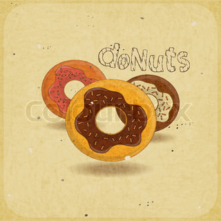 Donuts on vintage background