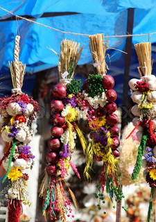Big variation of onion, garlic, herbs, dried handmade flower bouquets, wreaths, spices, aromatic pillows