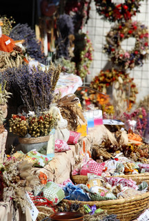 Big variation of herbs, vegetables, dried handmade flower bouquets, wreaths, spices, aromatic pillows