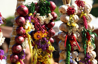 Onion, garlic, herbs, spices, lavender, handmade flower bouquets and vegetables