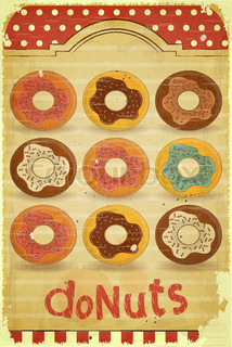 Donuts Menu on vintage background