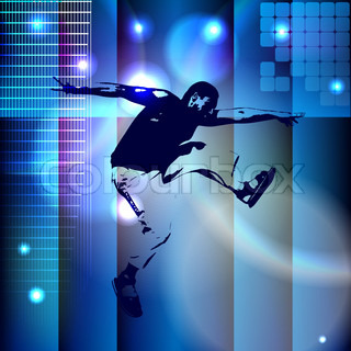 Abstract blue background with a bouncing boy eps10