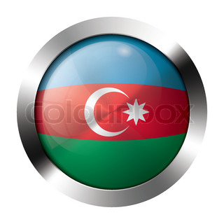 Metal and glass button - flag of azerbaijan - europe