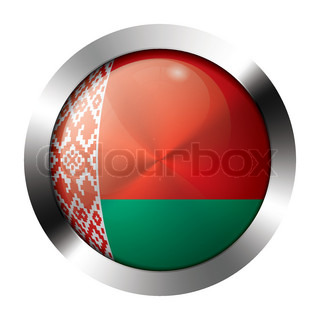 Metal and glass button - flag of belarus - europe