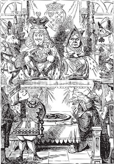 Frontispiece: The King and Queen inspecting the tarts Alice in Wonderland