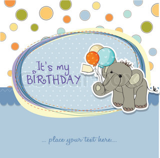 baby boy birthday card with elephant and balloons