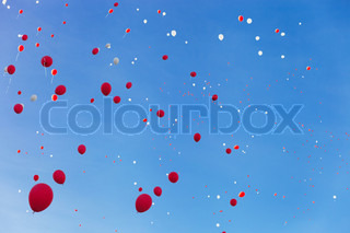 Red and white balloons