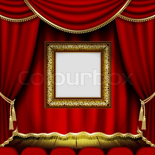 Theater stage with red curtain isolated on white quot vector