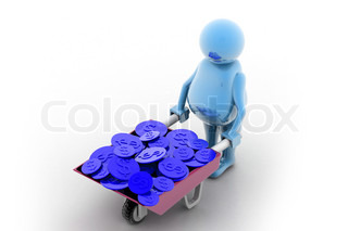 Gold Coin In Wheelbarrow