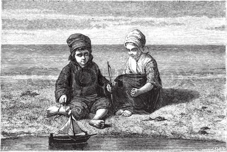 Kids looking at small boat on water surface, vintage engraving