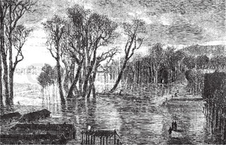 Flood barrier of Saint-Cloud during the winter of 1872-1873 - Drawing Sellier, vintage engraving