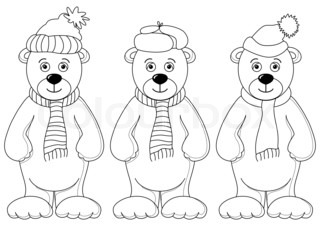 Teddy bears in winter costume, contours