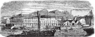 Brest harbour, in Britanny region, France, vintage engraved illustration Magasin Pittoresque 1875