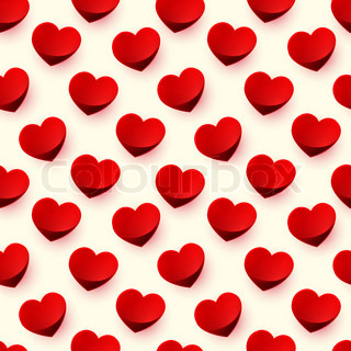 Seamless glossy red heart background pattern