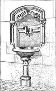 Sink at the Notre Dame Cathedral in Paris, France, vintage engraving