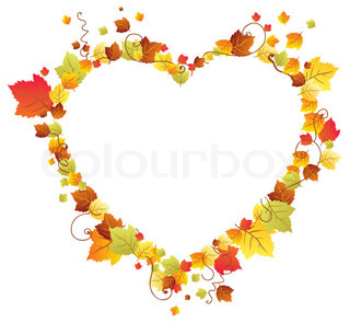 Autumn leaves in the heart frame