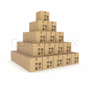 Pyramid made of carton boxes