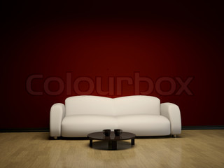 Interior with a sofa and a table