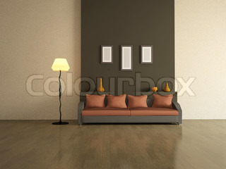 The interior of with brown sofa