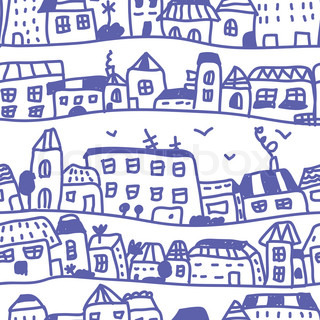 Houses seamless pattern doodle