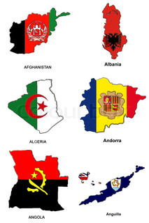 a collection of map shaped flags of the world in the style of doodle-like sketches