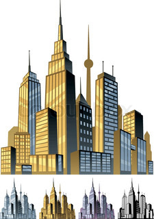 Three cityscape horizontal Cartoon city in different color ...