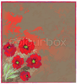 Invitation floral grunge card with poppy bouquet on stained background
