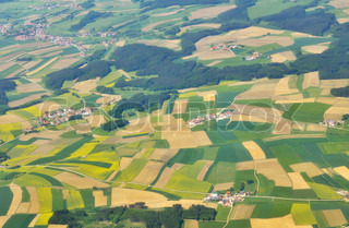aerial view of green fields above germany