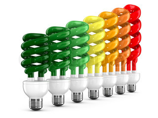 energy saving bulbs on white background Isolated 3D image