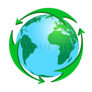 Green arrows round the earth