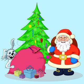 Santa Claus, Christmas tree and gifts