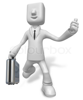 A busy person Carrying a Briefcase. 3D Business Character
