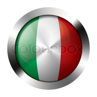 Metal and glass button - flag of italy - europe