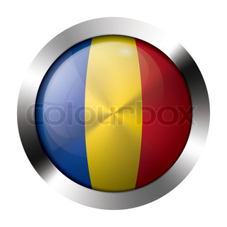Metal and glass button - flag of moldova - europe