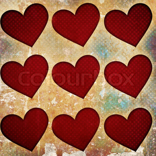 red hearts on grunge background