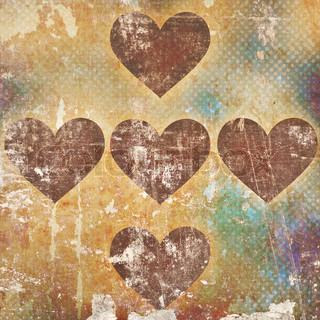 hearts on grunge background